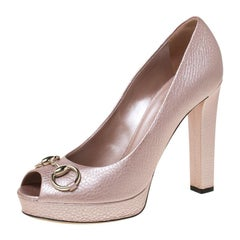 Gucci Pink Leather Horsebit Peep Toe Platform Pumps Size 40