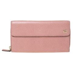 Gucci Pink Leather Interlocking G Continental Wallet