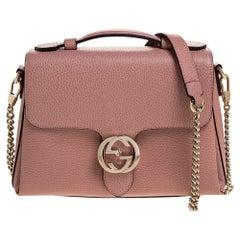 Gucci Pink Leather Interlocking GG Top Handle Bag