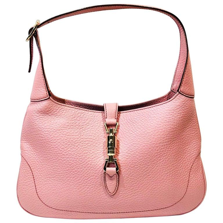 Gucci Pink Leather Jackie 1961 Hobo Shoulder Bag  For Sale
