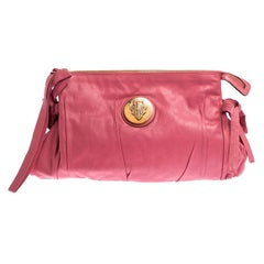 Gucci Pink Leather Large Hysteria Clutch