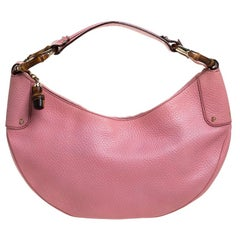 Gucci Pink Leather Medium Bamboo Ring Hobo