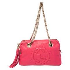 Gucci Pink Leather Medium Soho Chain Shoulder Bag