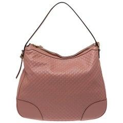 Gucci Pink Leather Microguccissima Bree Hobo