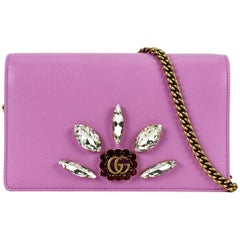 Gucci Pink Leather Mini Double G Crystals WOC Wallet on Chain