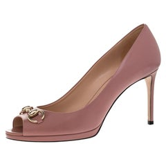 Gucci Pink Leather New Hollywood Horsebit Peep Toe Pumps Size 40