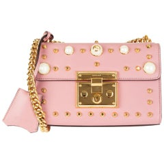 GUCCI pink leather PADLOCK SMALL PEARL STUDDED Shoulder Bag