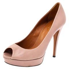 Gucci Pink Leather Peep Toe Platform Pumps Size 37.5