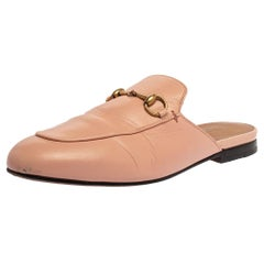 Gucci Pink Leather Princetown Horsebit Mules Size 38