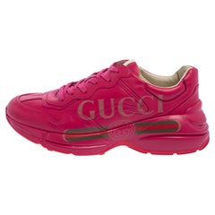 Gucci Pink Leather Rhyton Logo Print Low Top Sneakers Size 42