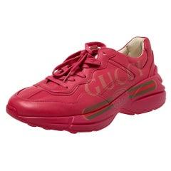 Gucci Pink Leather Rhyton Vintage Logo Platform Sneakers Size 41
