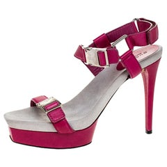 Gucci Pink Leather Side Release BuckleOpen Toe Ankle Strap Sandals Size 39.5
