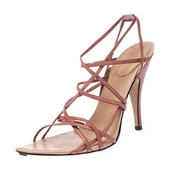 Gucci Pink Leather Strappy Open Toe Sandals Size 37