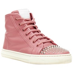 GUCCI pink leather studded toe cap high top casual sneakesr EU36.5
