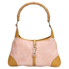 81cc7c1ffef3 Gucci Pink Light Pink Suede Leather Bamboo Jackie Handbag Italy