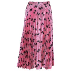 Gucci Pink Lurex Silk Bow Intarsia Pleated Midi Skirt L