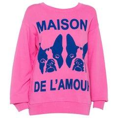 Gucci Pink Maison de l'Amour Bosco and Orso Printed Cotton Sweatshirt XS