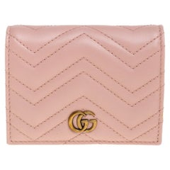 Gucci Pink Matelasse Leather GG Marmont Card Case
