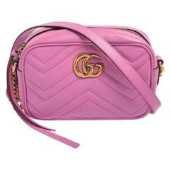 Gucci Pink Matelassé Leather Mini GG Marmont Crossbody Bag