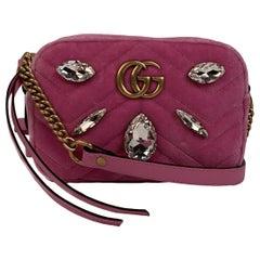 Gucci Pink Matelassè Velvet Crystals Mini GG Marmont Bag