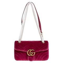 Gucci Pink Matelasse Velvet Small GG Marmont Shoulder Bag