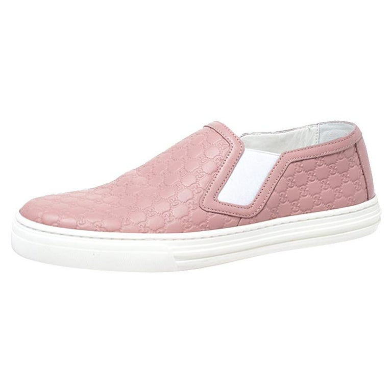 Gucci Pink Microguccisima Leather Slip On Sneakers 35.5 For Sale