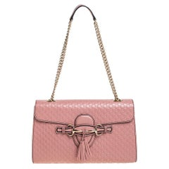 Gucci Pink Microguccissima Leather Medium Emily Chain Shoulder Bag