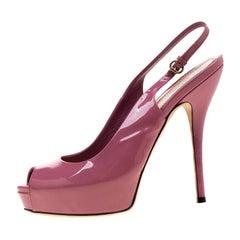 Gucci Pink Microguccissima Slingback Peep Toe Platform Sandals Size37
