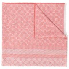 Gucci Pink Monogram Print Scarf