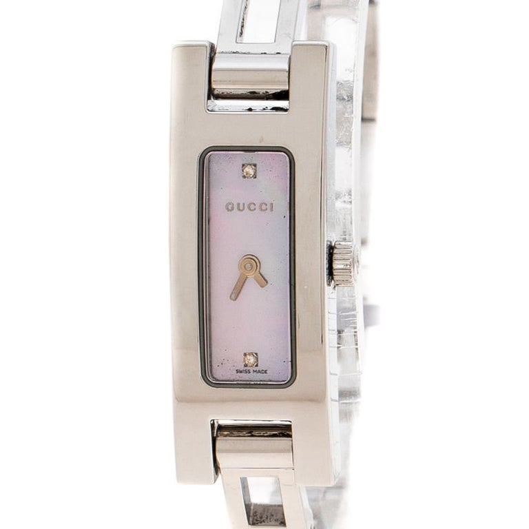 072ef87868c Gucci Pink Mother of Pearl Stainless Steel And Diamond 3900L Women s  Wristwatch For Sale 2