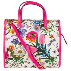 GUCCI pink NEON FLORA MEDIUM Tote Bag