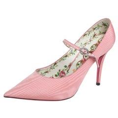 Gucci Pink Nylon Virginia Mary Jane Pumps Size 38
