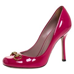 Gucci Pink Patent Leather Horsebit Pumps Size 38