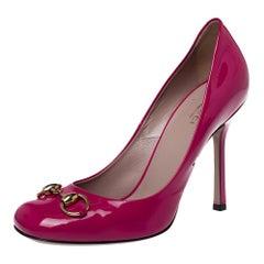 Gucci Pink Patent Leather Jolene Horsebit Pumps Size 39