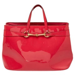 Gucci Pink Patent Leather Large Bright Bit Tote
