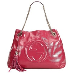 Gucci Pink Patent Leather Leather Soho Chain Shoulder Bag Italy w/ Dust Bag