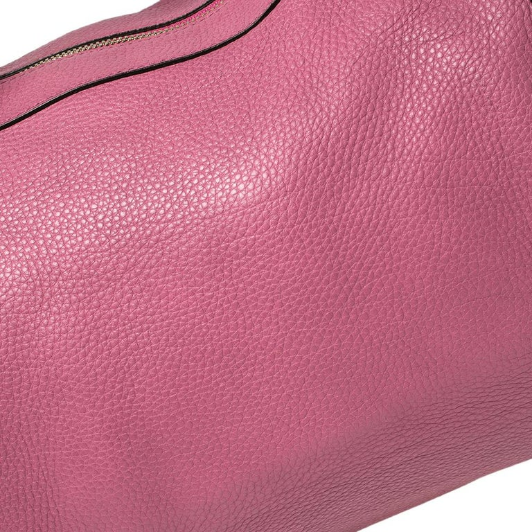 Gucci Pink Pebbled Leather Soho Boston Bag For Sale 6