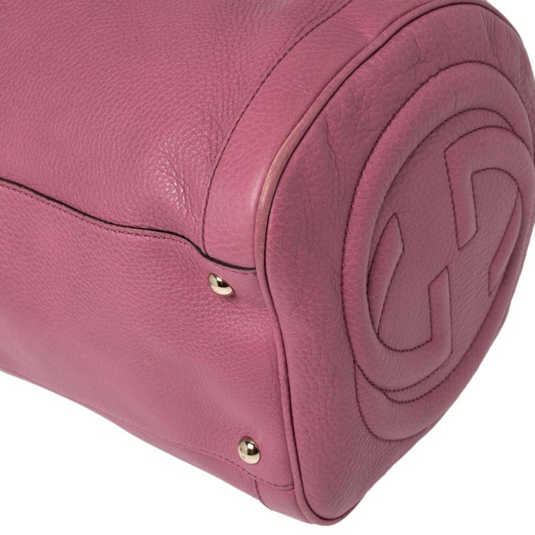 Gucci Pink Pebbled Leather Soho Boston Bag For Sale 7