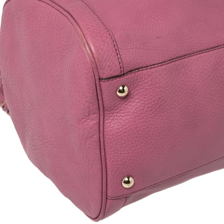 Gucci Pink Pebbled Leather Soho Boston Bag For Sale 9