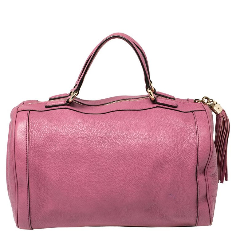 Women's Gucci Pink Pebbled Leather Soho Boston Bag For Sale