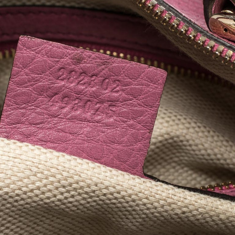 Gucci Pink Pebbled Leather Soho Boston Bag For Sale 1
