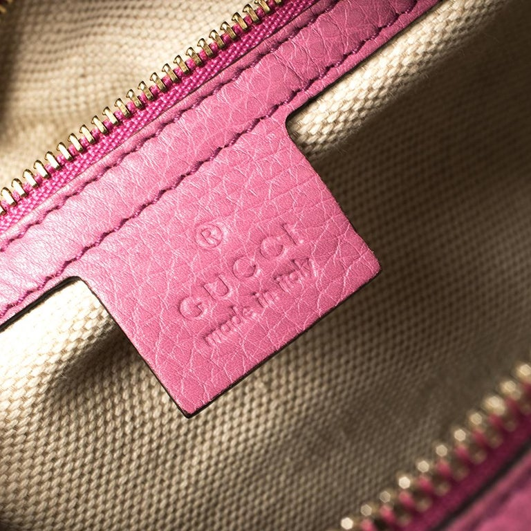 Gucci Pink Pebbled Leather Soho Boston Bag For Sale 2
