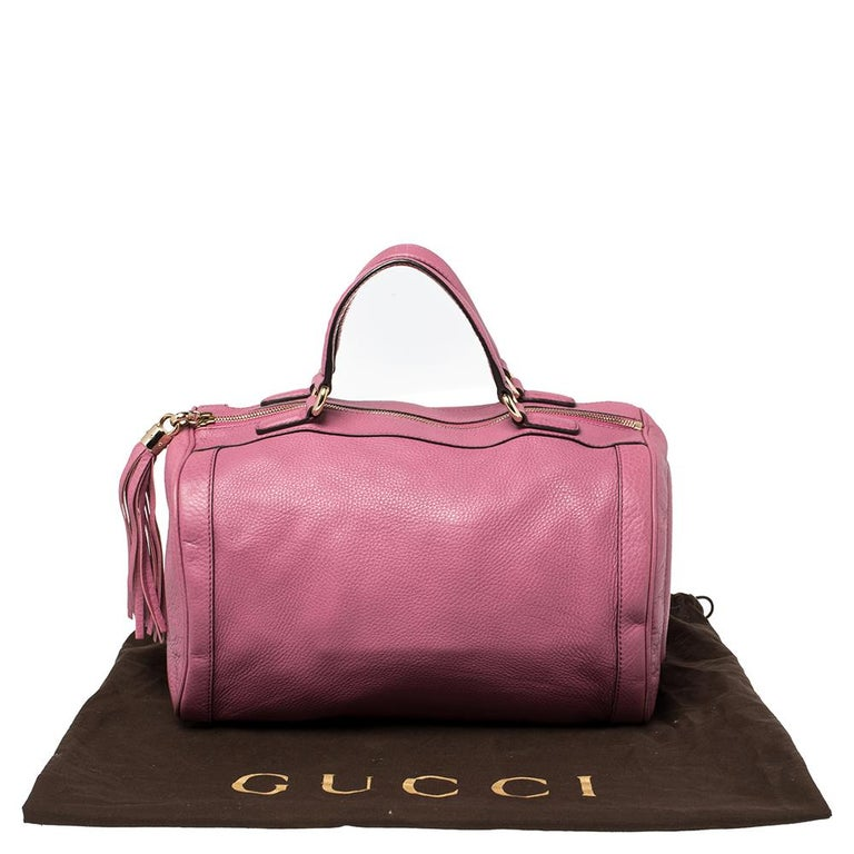 Gucci Pink Pebbled Leather Soho Boston Bag For Sale 5