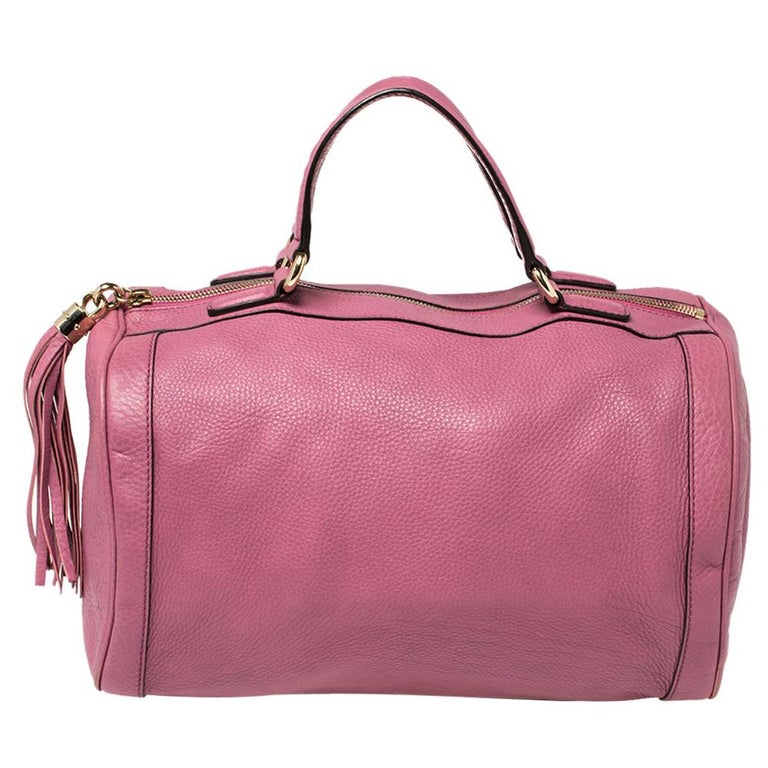Gucci Pink Pebbled Leather Soho Boston Bag For Sale