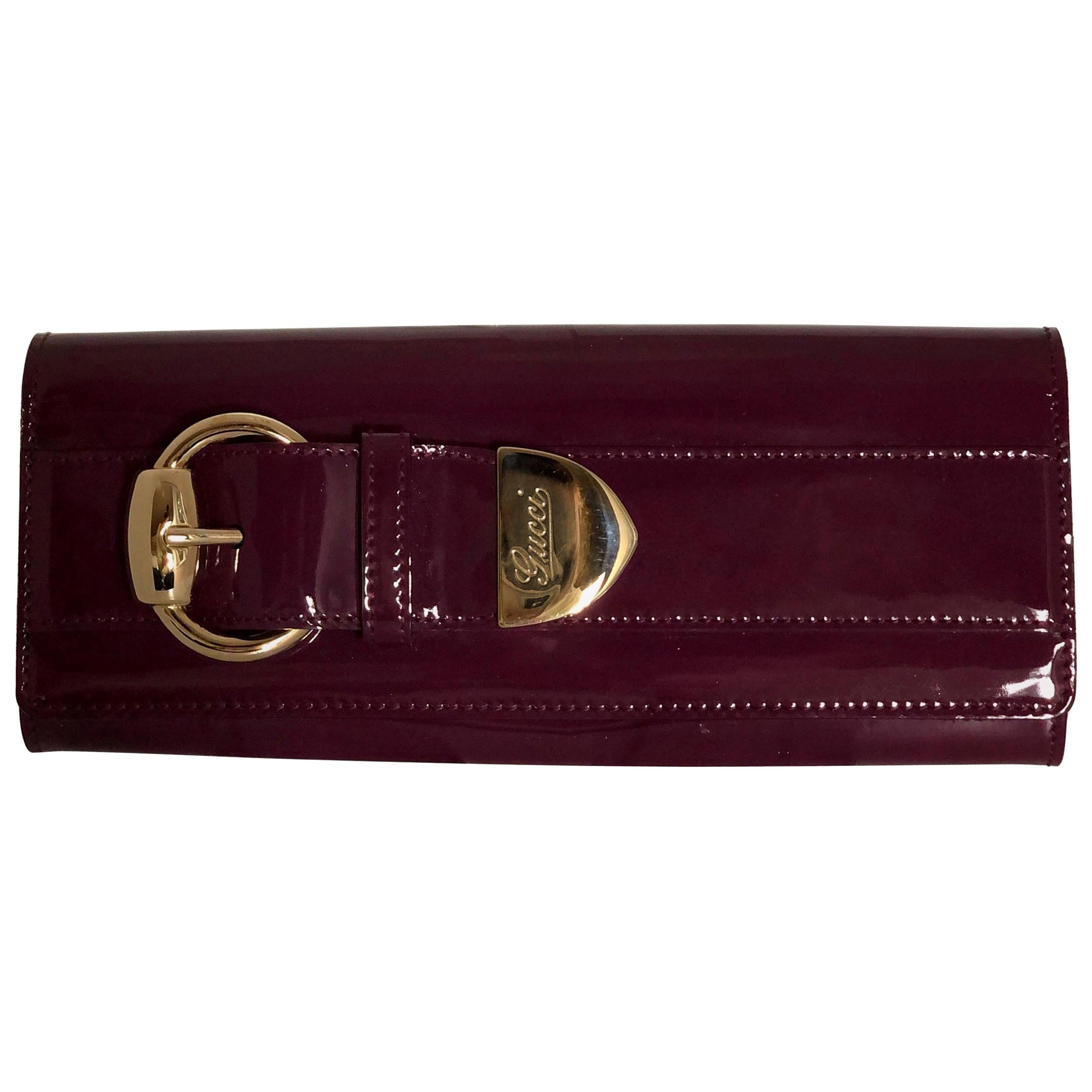 Gucci Pink / Purple Patent Leather Mini Clutch with Gold Metal Insignia Hardware