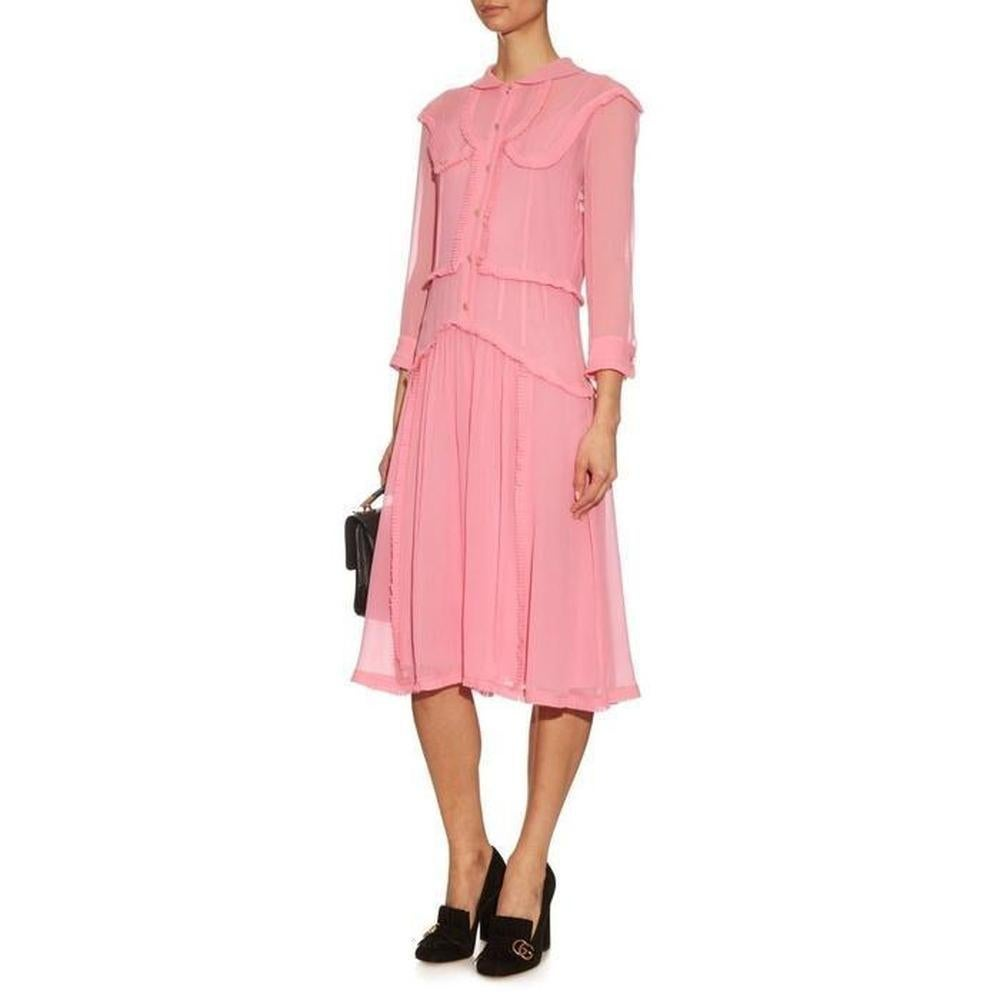 6b8e085fd GUCCI Pink Ruffle Trimmed Silk Georgette Cocktail Dress and IT42 US 4-6 For  Sale at 1stdibs