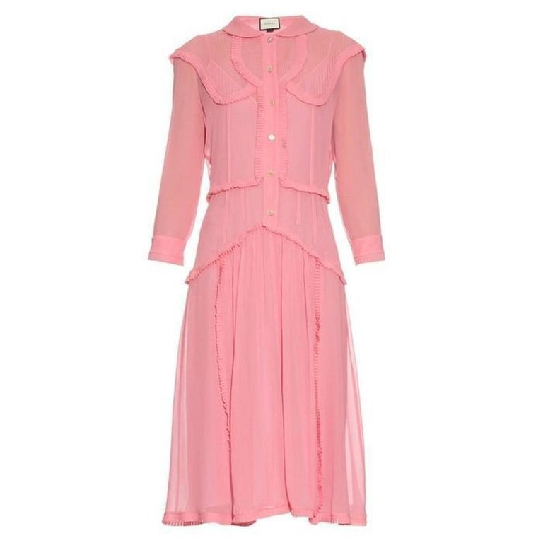3aef2a1f2 GUCCI Pink Ruffle Trimmed Silk Georgette Cocktail Dress and IT42 US 4-6 For  Sale