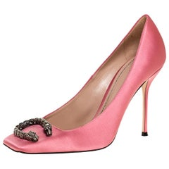 Gucci Pink Satin Dionysus Buckle Square Toe Pumps Size 41