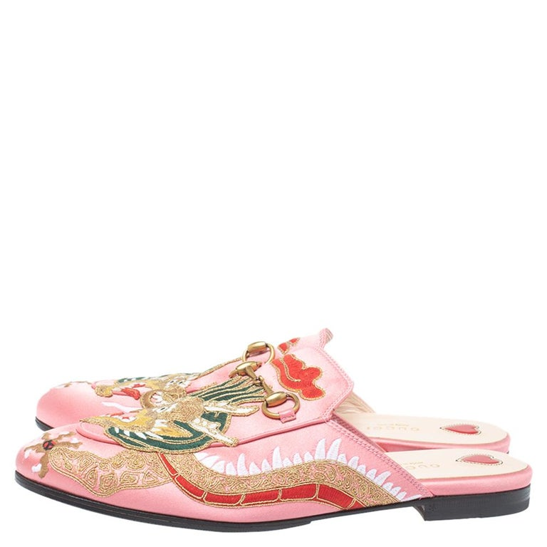 Beige Gucci Pink Satin Dragon Embroidery Princetown Mule Flats Size 40 For Sale