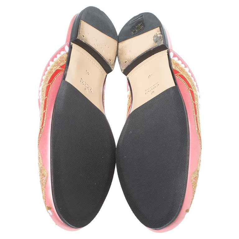 Gucci Pink Satin Dragon Embroidery Princetown Mule Flats Size 40 For Sale 1